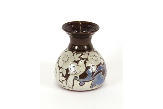 An Alan Sexton Pottery Vase Having Blue And Silvered Leaf