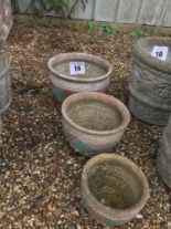 Lot 16 - 3x terracotta and painted planters, matching, larg