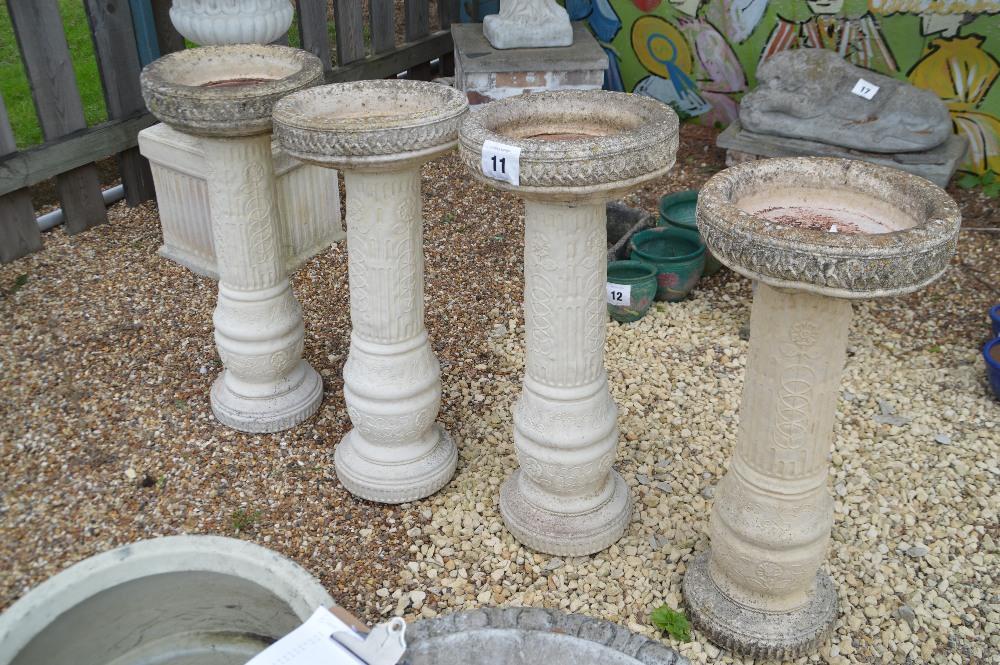 Lot 11 - 4x pre-cast bird baths, approx. 89cm