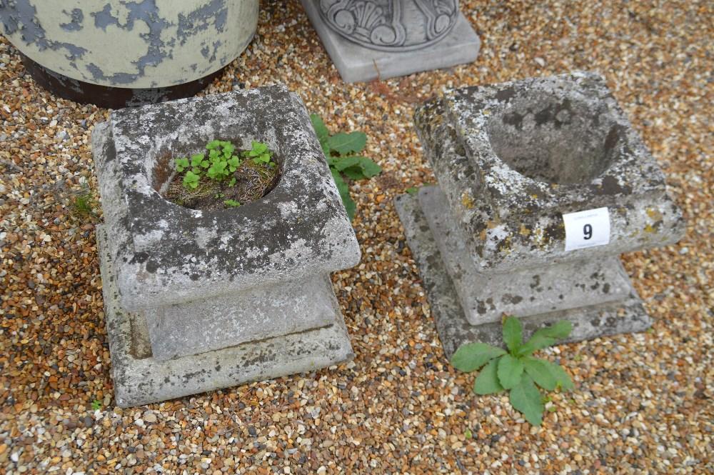 Lot 9 - 2x pre-cast low level planters, approx. 40cm