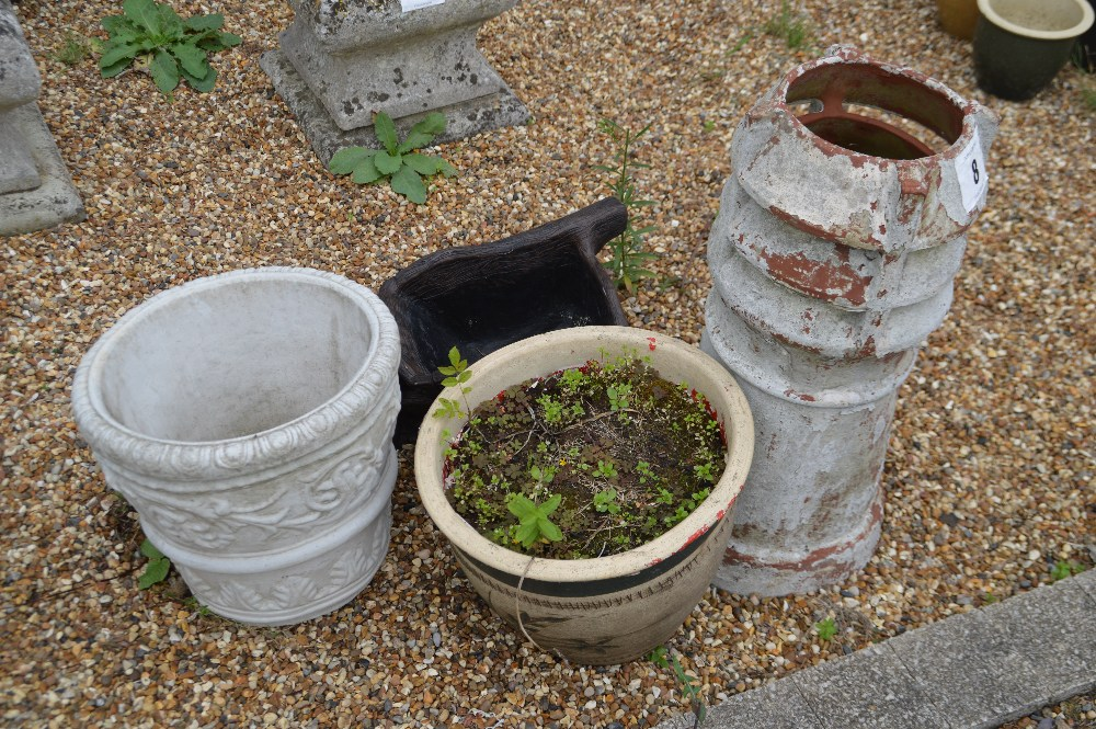 Lot 8 - 2x circular planters, wheelbarrow planter and a ch