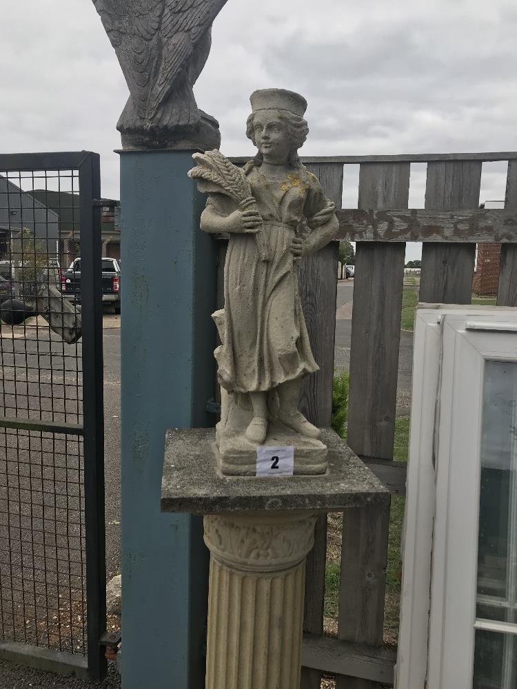 Lot 2 - A pre-cast figure on plinth, approx. 109cm