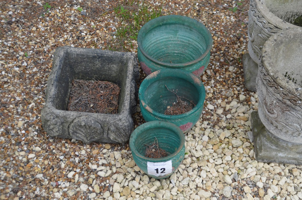 Lot 12 - 4x small planters, three green painted and one pre