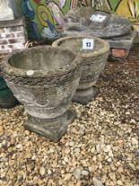 Lot 13 - 2x small pre-cast planters, approx. 38cm