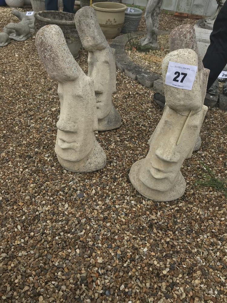 Lot 27 - 4x pre-cast garden ornaments in the shape of heads