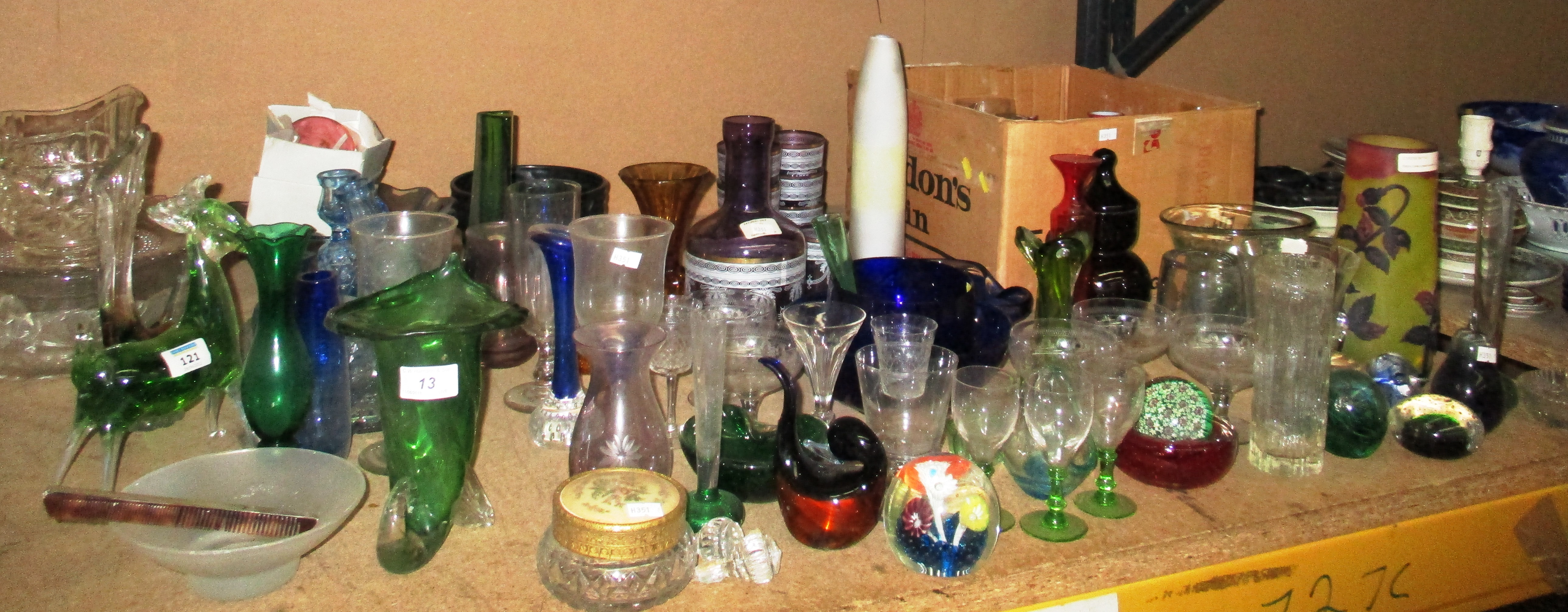 Lot 13 - A large collection of glassware - paperweights, etched,