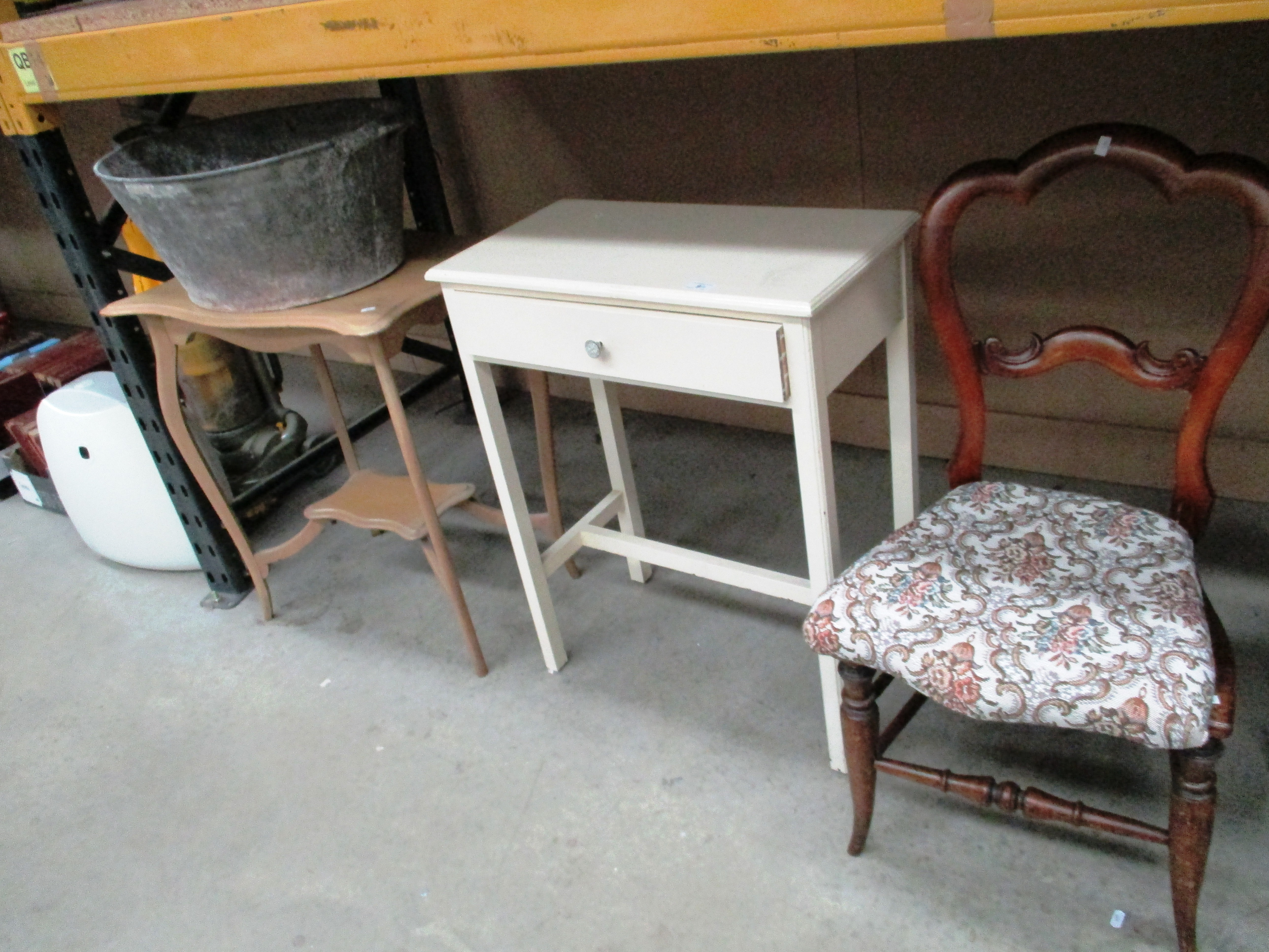 Lot 9 - White painted single drawer side table, chair,