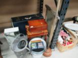 Lot 8 - Copper posser, galvanised watering can, washboard, musical table,
