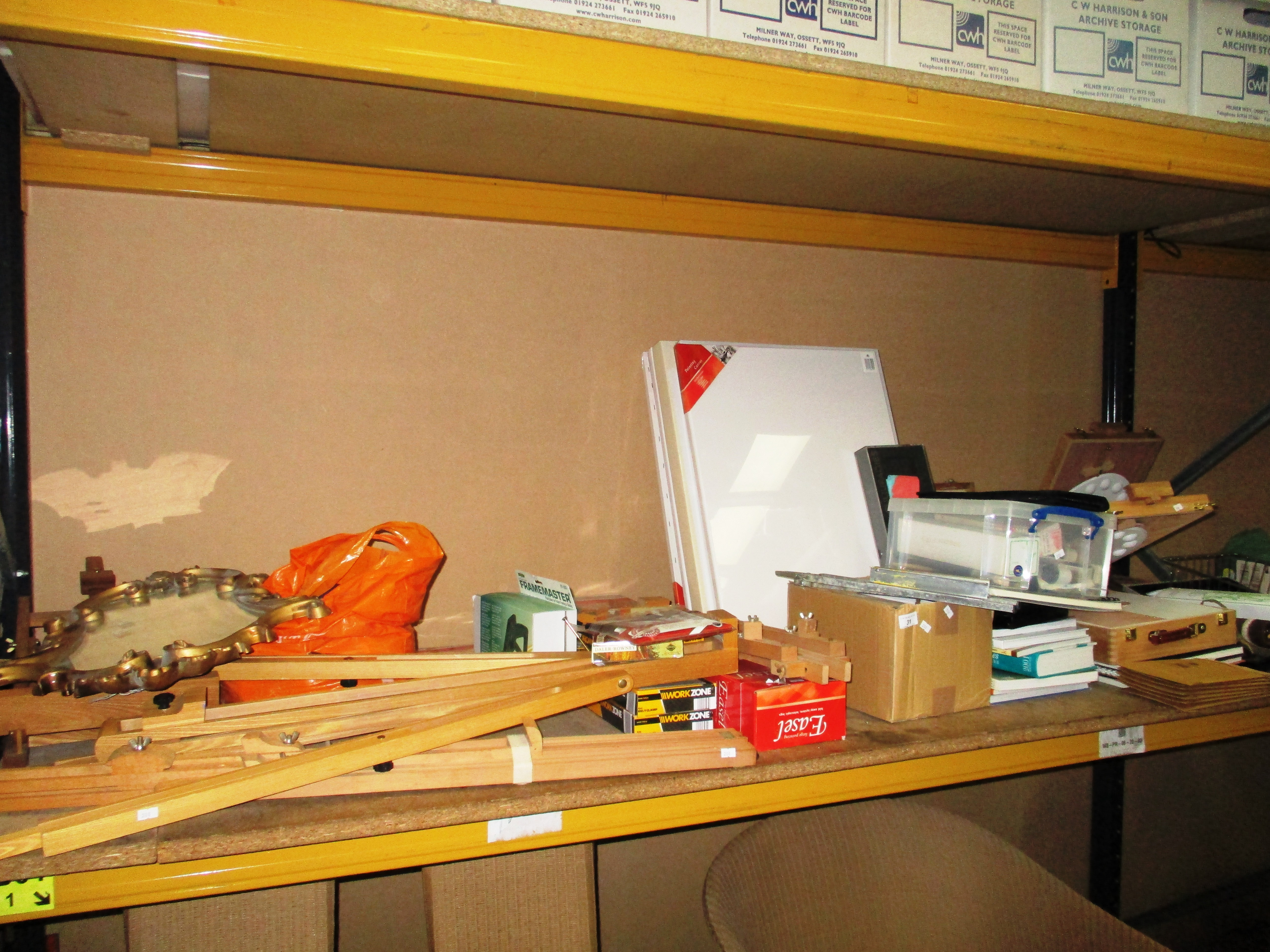 Lot 31 - Contents to tray an extremely large quantity of artists equipment and materials including easels,