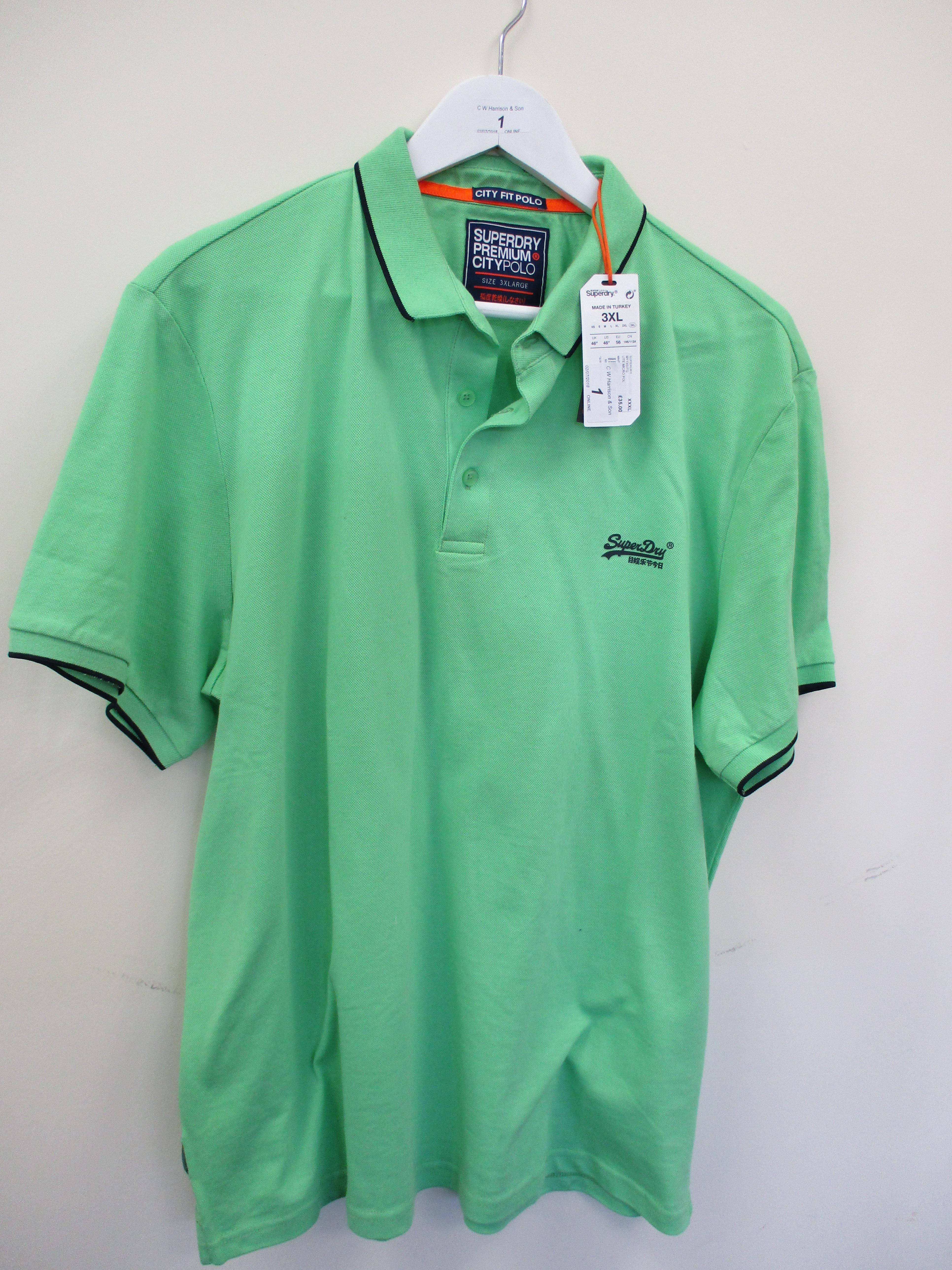 Lot 1 - Superdry lightweight edition polo shirt - green - 3XL RRP £35