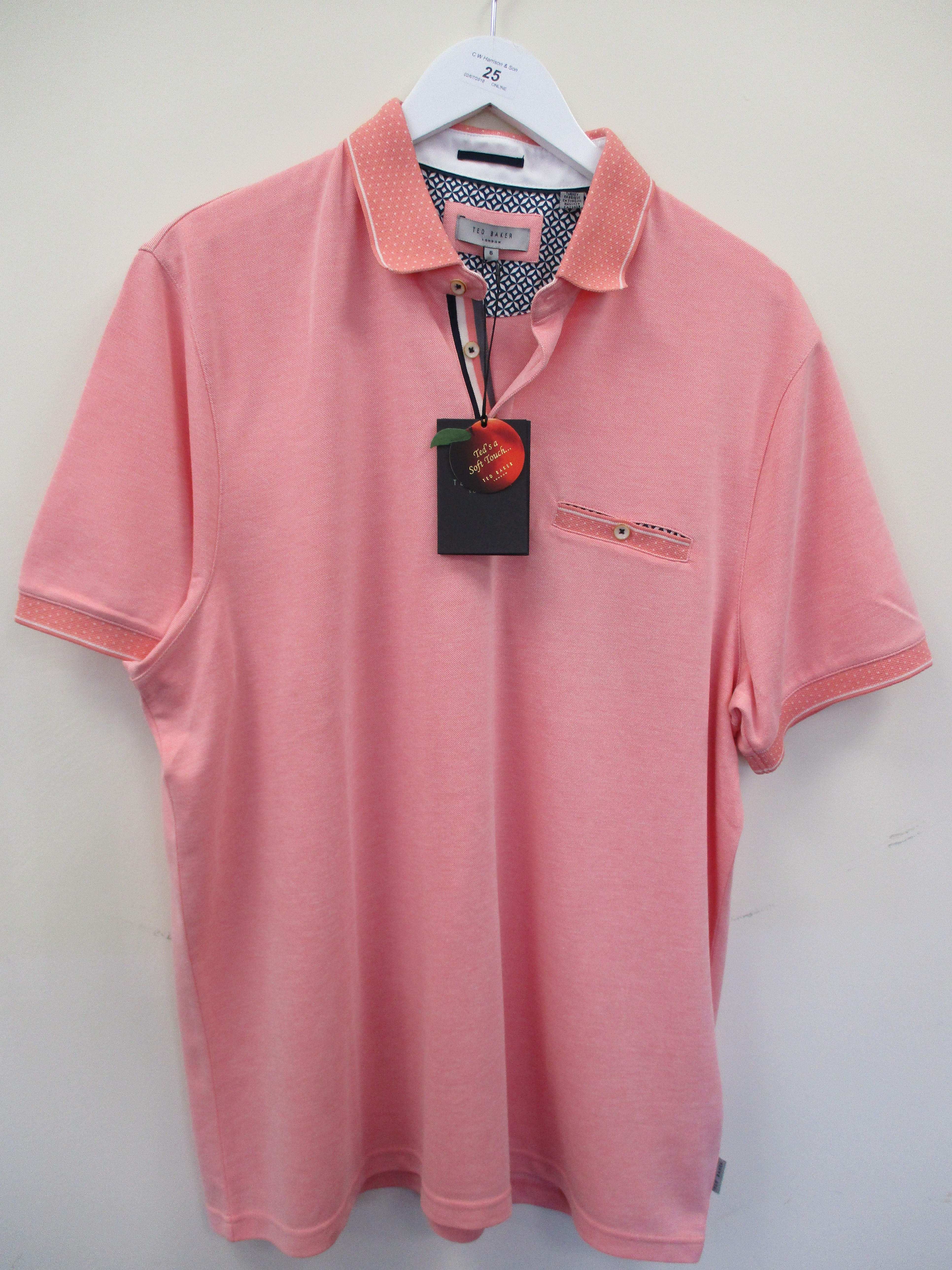 Lot 25 - Ted Baker polo shirt - pale orange - XXL RRP £69