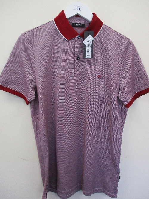 Lot 16 - Calvin Klein polo shirt - burgundy - small RRP £80