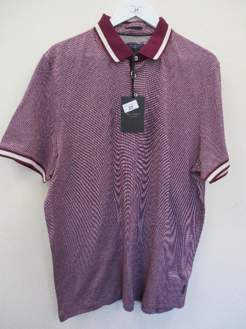 Lot 27 - Ted Baker polo shirt - purple stripe - XXL RRP £69