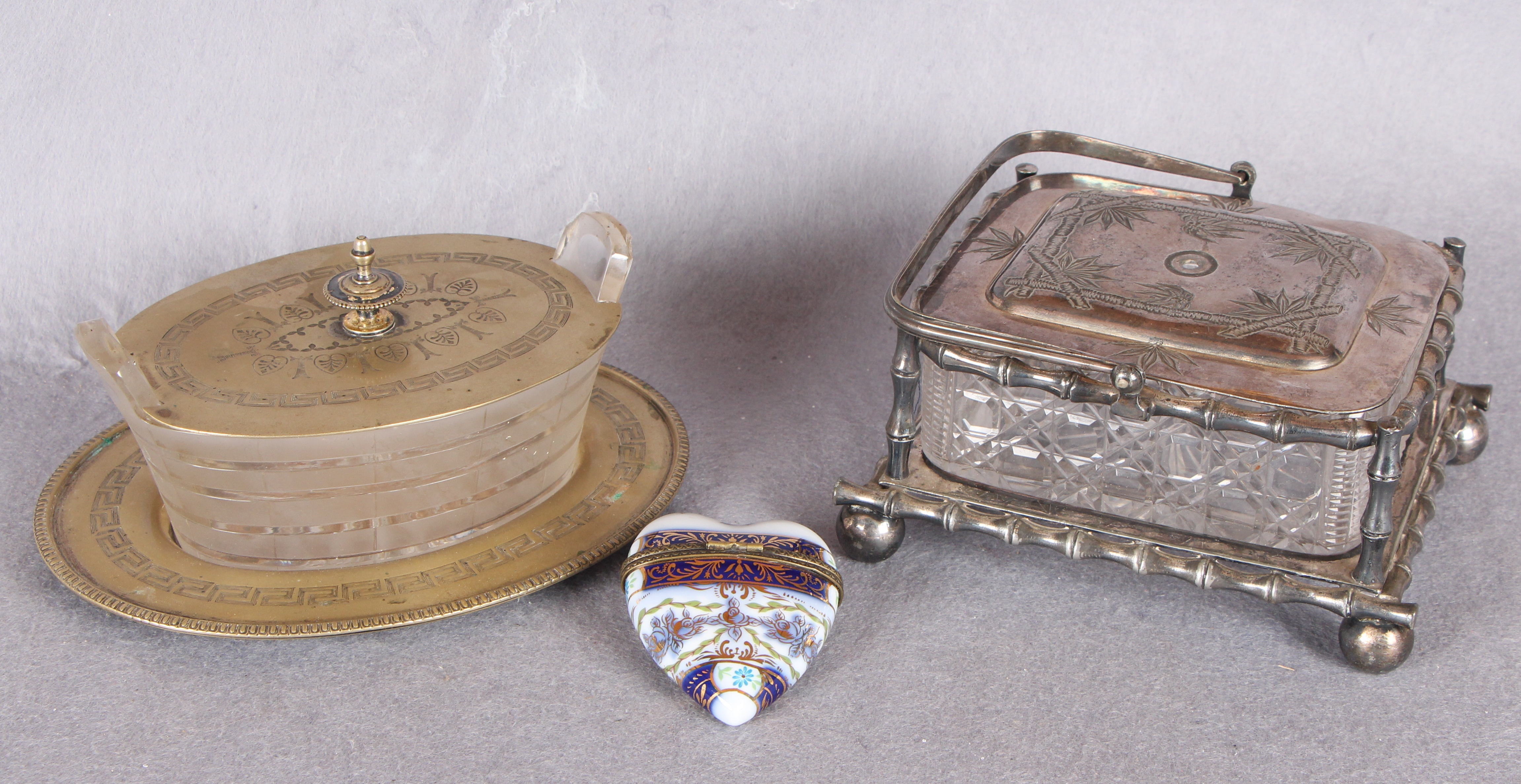 Lot 8 - A Victorian cut glass rectangular sardine dish, with plated cover and stand; another,