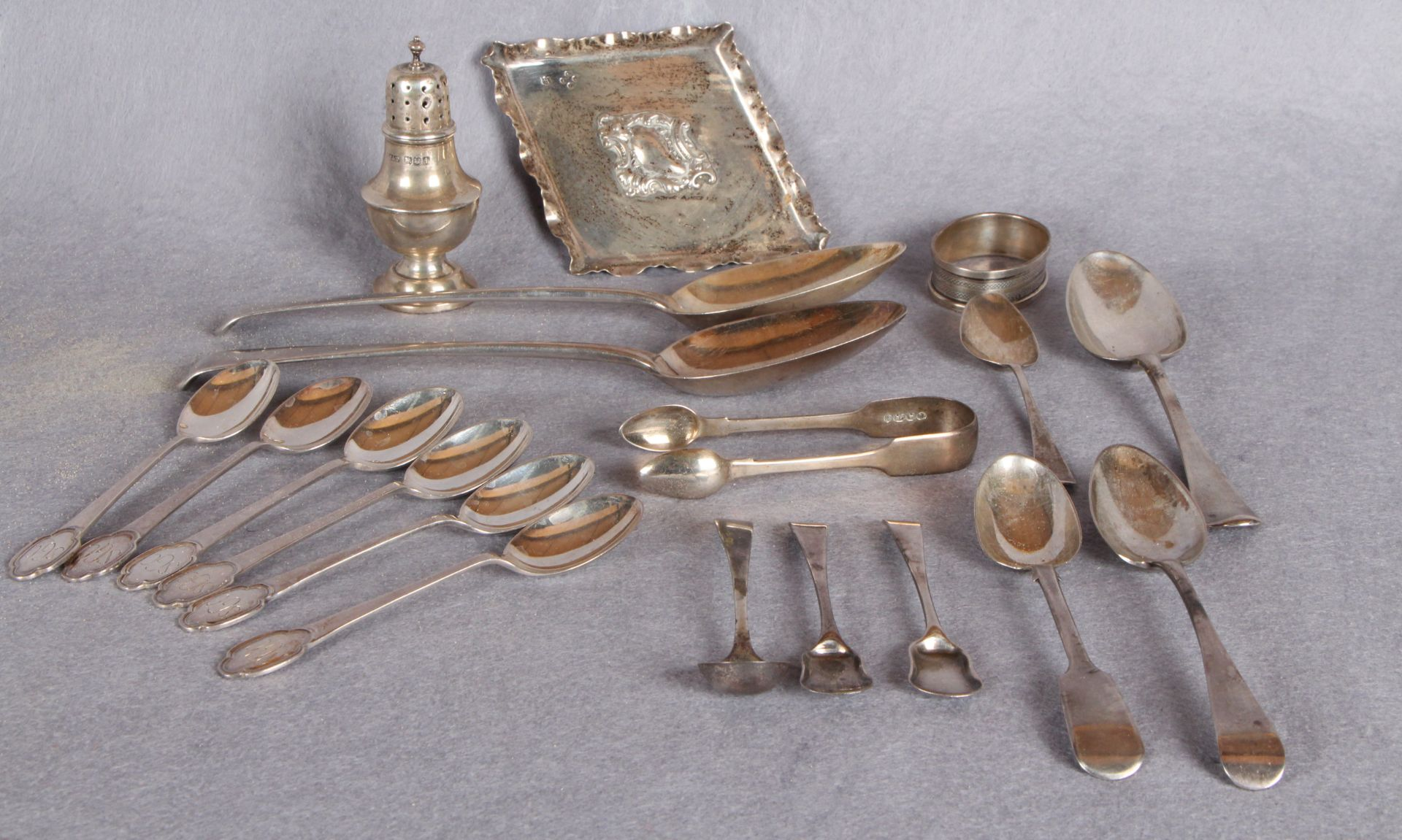 Lot 33 - Silverwares including composite set of six golfing prize teaspoons, Sheffield hallmarks,