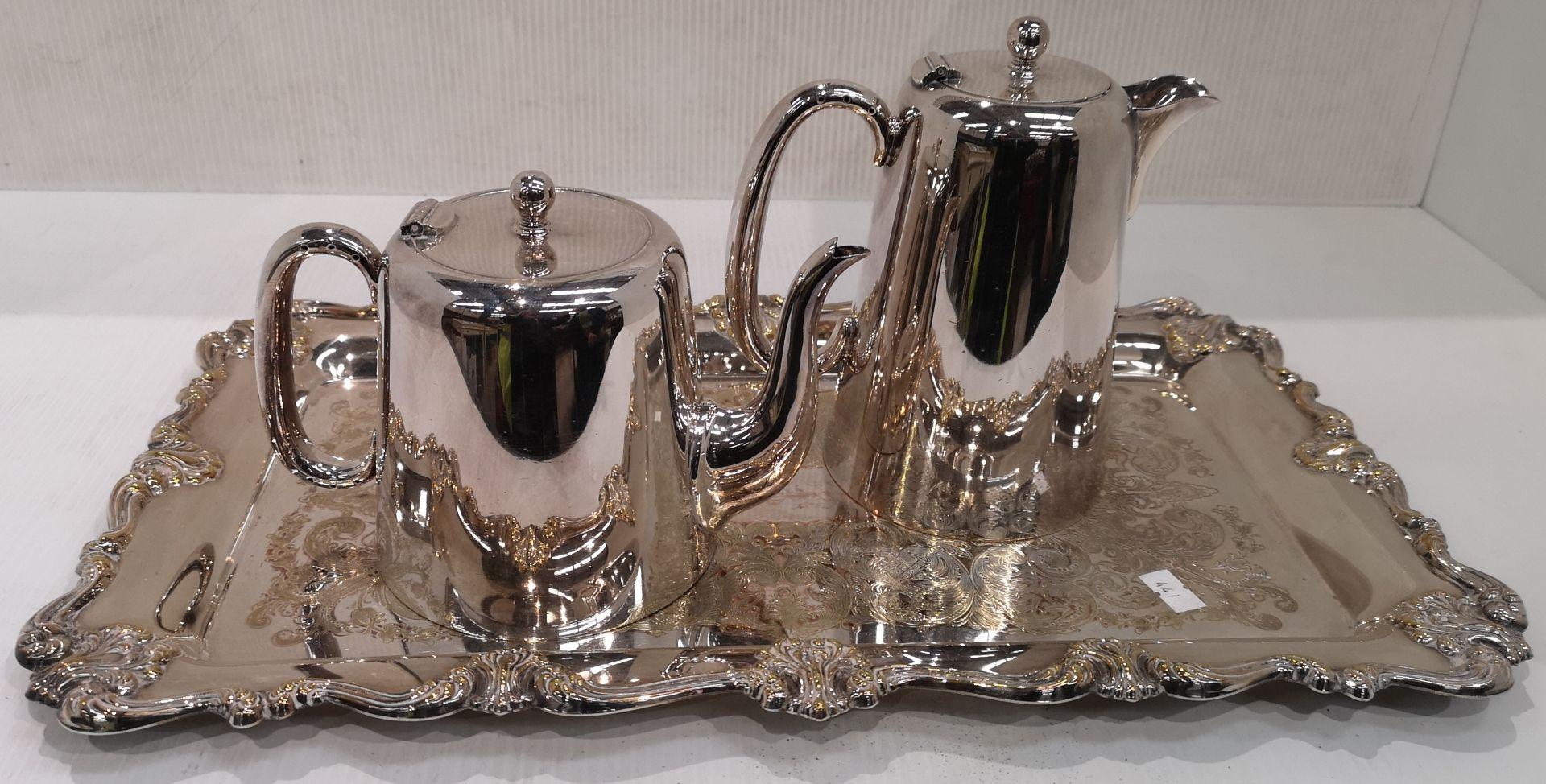 Lot 30 - Three items - plated tray,