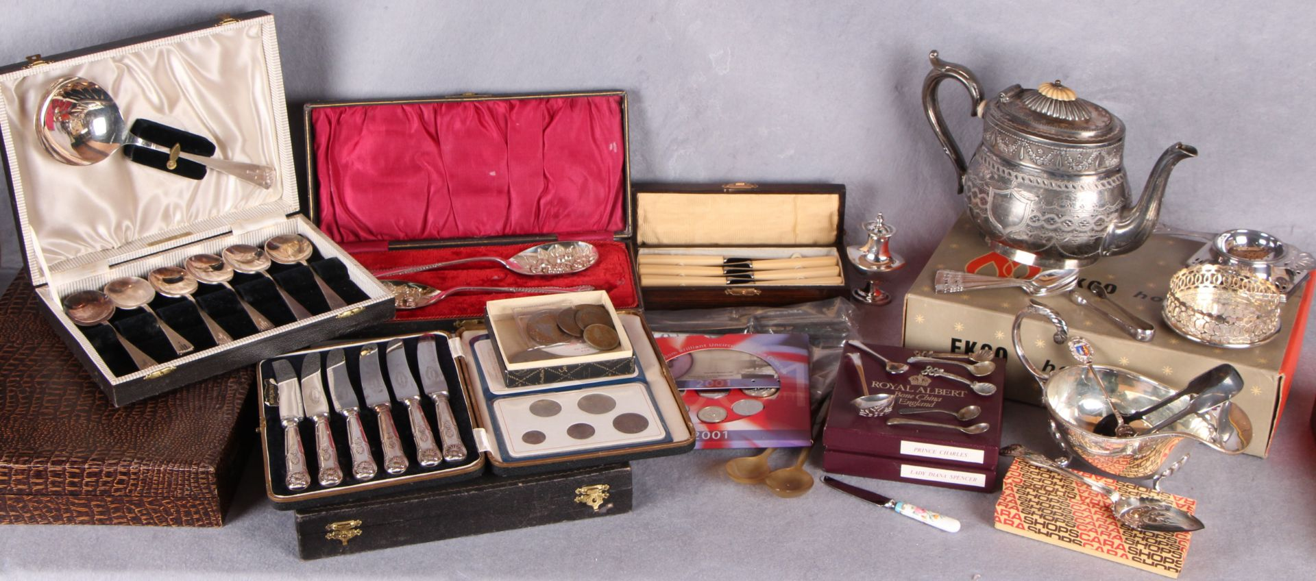 Lot 7 - Assorted plated wares, including loose and cased cutlery; sauce boat, Britannia metal teapot,