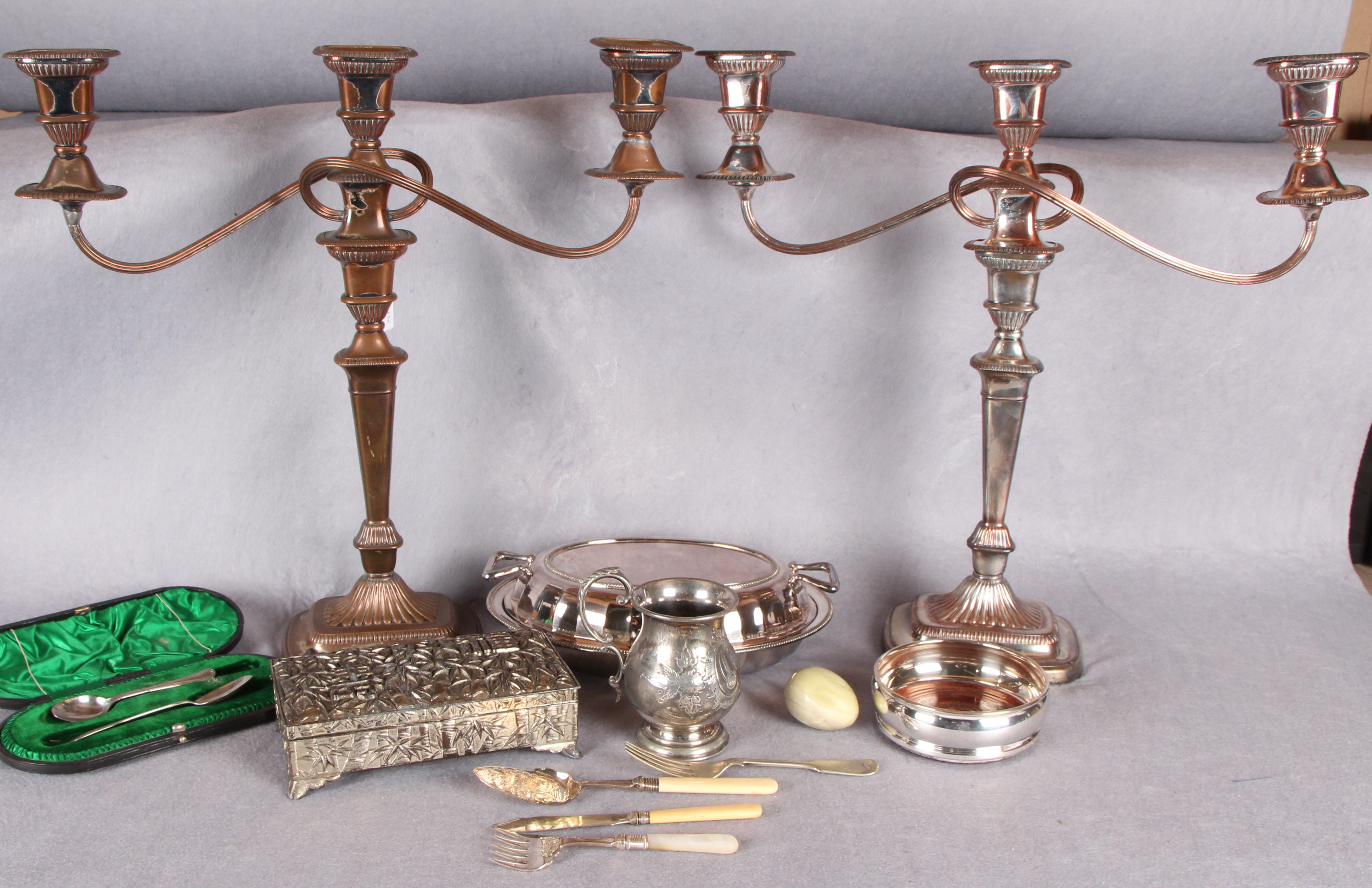 Lot 10 - Assorted plate including a pair of Sheffield plate three branch candelabra of tapering,