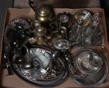 Lot 21 - A quantity of plated wares including gallery trays, wine goblets, four piece tea service,