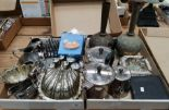 Lot 29 - Contents to two trays - silver plated and brassware including tea and coffee pot,