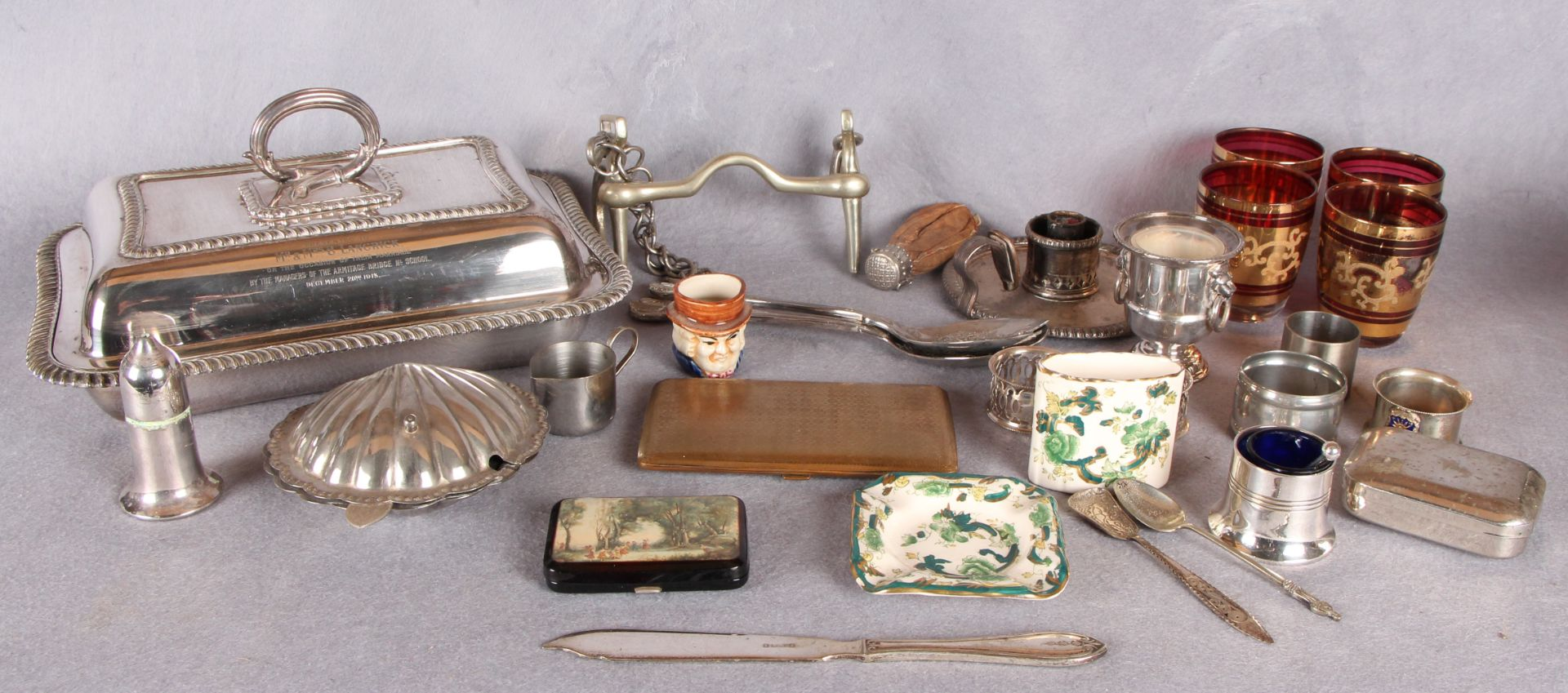 Lot 16 - Plated wares including rectangular entree dish and cover with detachable handle, snaffle bit,
