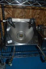 Lot 46 - *Stainless Steel Wash Hand Basin with Lever Taps