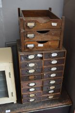 Lot 13 - Box Wood Sixteen Drawer Cabinet and Three Drawer Desktop File Cabinet
