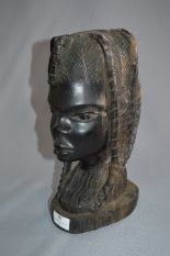 Lot 38 - Large Carved Ebony African Bust - Tribal Lady