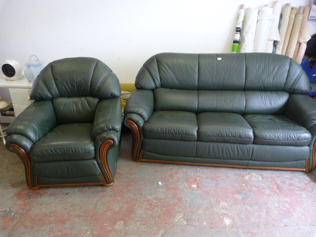 Lot 1 - Green Leatherette Three Seat Sofa and Armchair