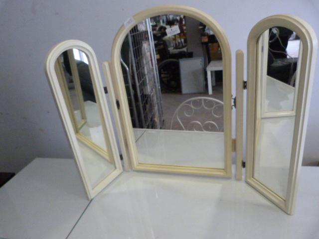 Lot 3 - White Triple Folding Dressing Table Mirror