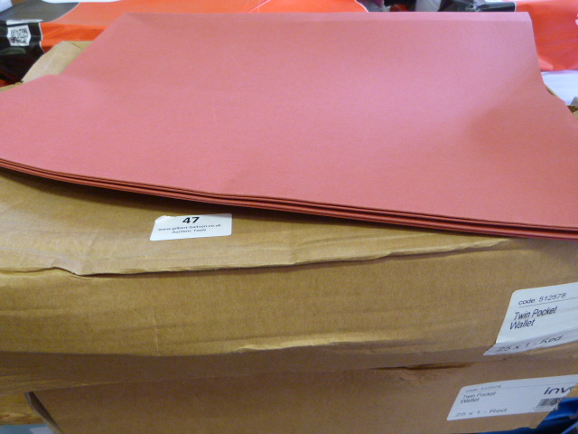 Lot 47 - Two Boxes of Red Twin Pocket Wallets (50 Total)