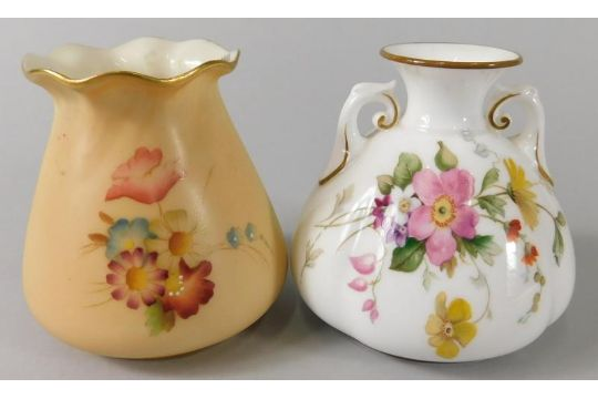A Royal Worcester Porcelain Two Handled Vase Decorated With Flowers