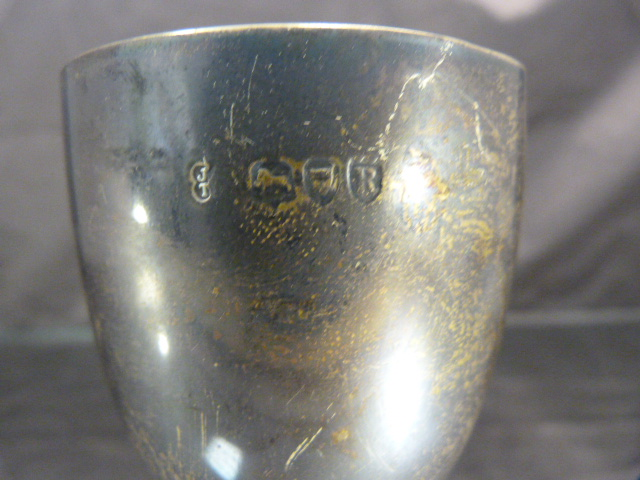 Lot 6 - Hallmarked silver London Goblet 1892. Beaded decoration to foot and around the stem. Maker JT.