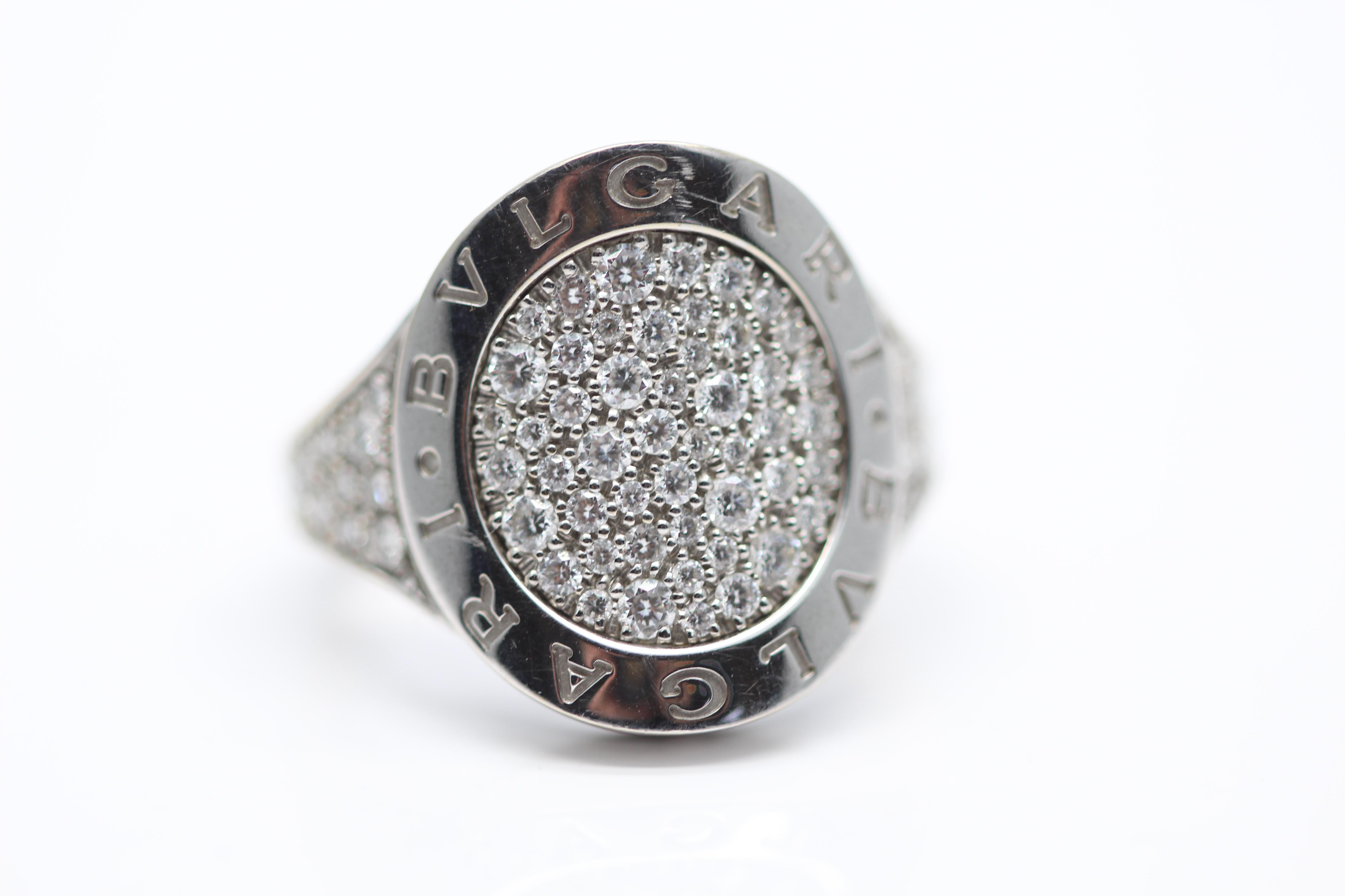 4250 18CT WHITE GOLD BVLGARI DIAMOND RING INCLUDES RECEIPT FOR