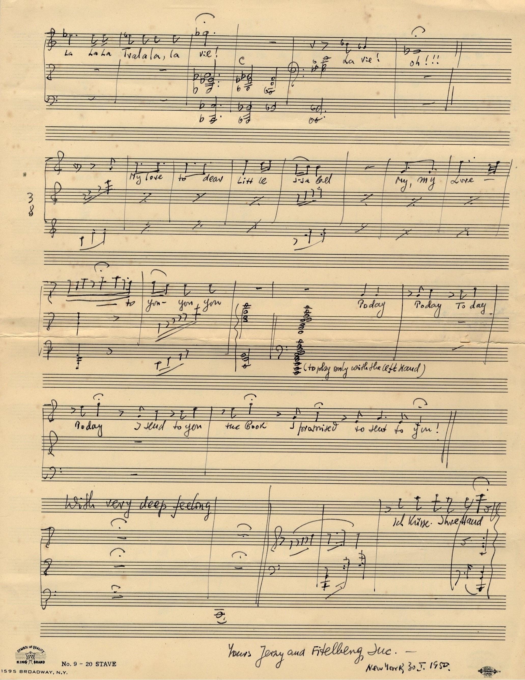 Lot 157 - FITELBERG JERZY: (1903-1951) Polish-Amer