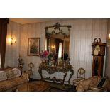 Consolle con specchio e piano in marmo dorata, cm. 166x60xh290