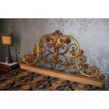 Testata di letto in metallo dorato, cm.180xh140