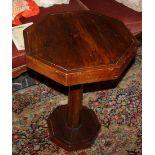Tavolino ottagonale con piede centrale, fine'800, cm. 53xh73