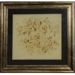 Le tre Flore, Di Lucia 1972, pirografia su velluto, 46 x 42 cm (V.F. 841 / 27)
