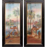 Paesaggi orientali, coppia di dipinti olio su cartoncino, fine 800, cm. 23,5x61, cornice coeva. (V.
