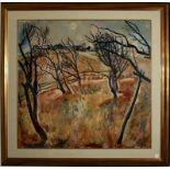Paesaggio di campagna autunnale, olio su tela, Sukhov Vasiliy 1979, cm. 75x80