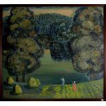 Contadine con sfondo di lago nel bosco, olio su tela, Vasiliy Sukhov, siglato CB 89, cm. 120x110