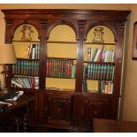 Libreria a tre ante e vani, anni '50, cm. 220x36xh230
