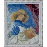 Dipinto su porcellana, con cornice, cm. 25x30