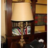 Coppia di lampade dell'800, con paralume in tessuto, cm. H 80