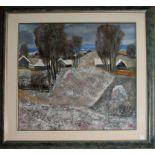 Paesaggio collinare, Nikita Fomin, siglato h.87, olio su tela, cm. 65x58