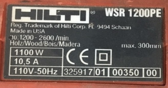 Lot 100 - Hilti WSR1200-PE Reciprocating Saw