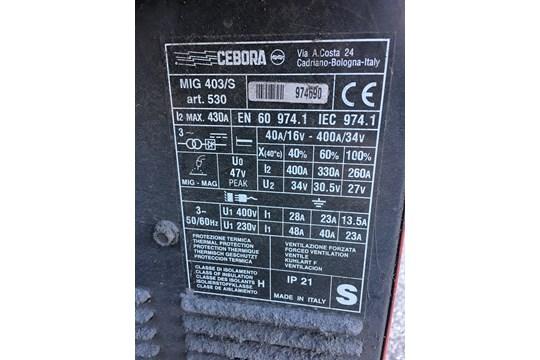Lot 5 - Cebora 403S MIG Welder w/ TFA4 Wire Feeder