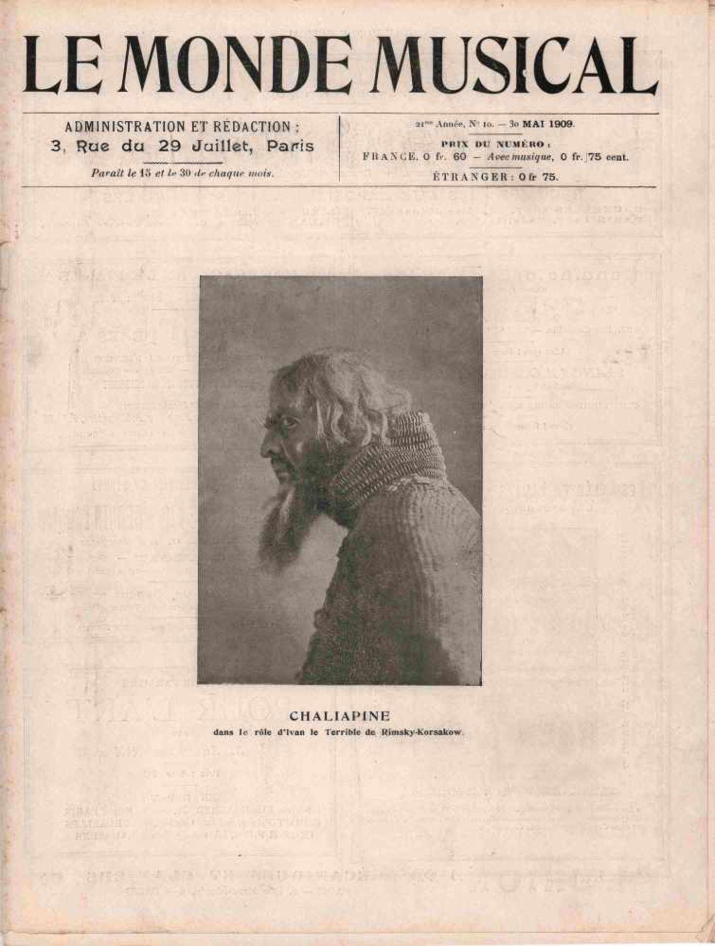 [OPERA RUSSES, CHALIAPINE] Zeitschrift Le Monde Musical Nr. 10, 30. Mai 1909. 32 x 24 cm. Auf dem