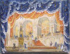 Mstislav Dobuzhinski (1875-1957) Bühnenbildentwurf für den Tanzsaal - Oper Giuseppe Verdi Ein